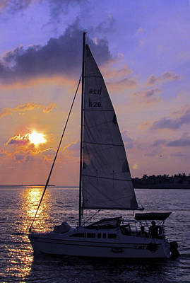 Photograph - Sailing Home Sunset In Key West by Bob Slitzan