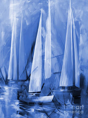 Cloudy Day Painting - Sailing In Blue by Gull G