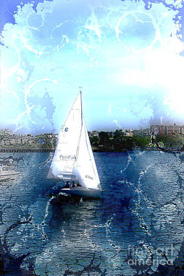 Photograph - Sailing In Boston Harbor by Julie Lueders