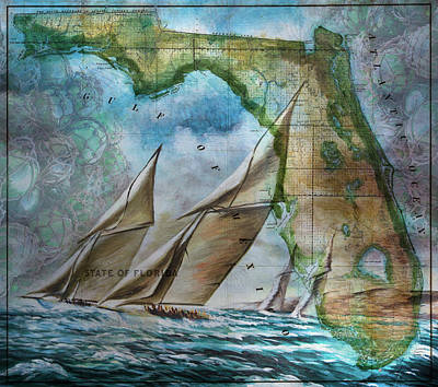 Blue Glass World Photograph - Sailing In Florida Antique Map by Debra and Dave Vanderlaan