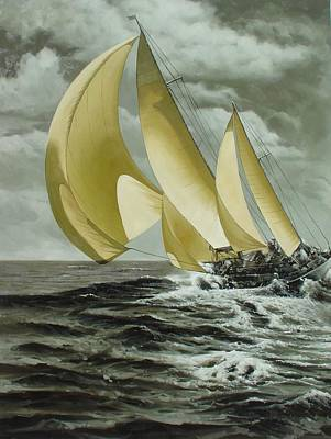 Classic Marine Art Painting - Sailing In Los Angeles Regatta by Lucia Amitra