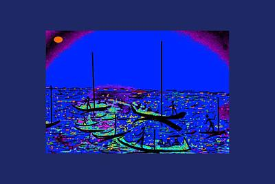 Abstract Seascape Digital Art - Sailing In Moon Light by Anand Swaroop Manchiraju