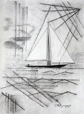 Drawing - Sailing In The City Harbor by J R Seymour