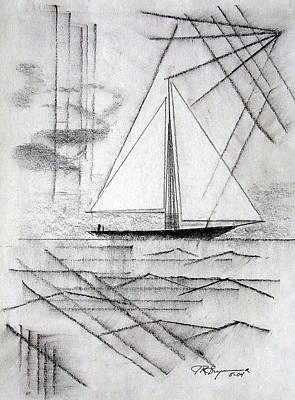 Sailing In The City Harbor Art Print