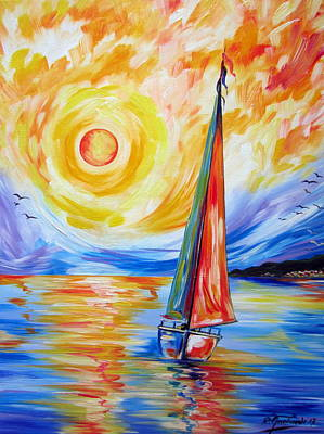 Painting - Sailing In The Hot Summer Sunset by Roberto Gagliardi