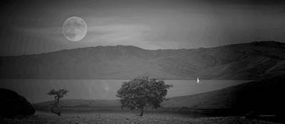 Photograph - Sailing In The Moonlight 2 B And W by Joyce Dickens