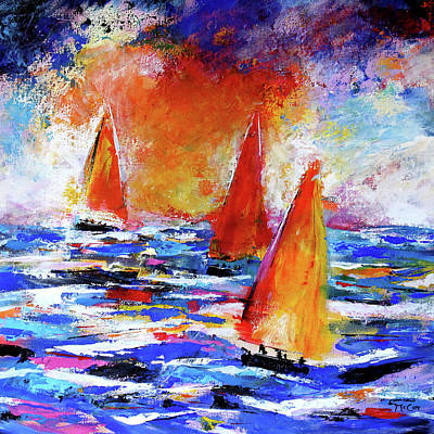 Painting - Sailing In The Sunset by K McCoy