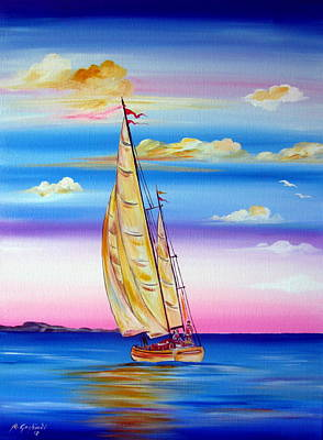 Painting - Sailing Into A Dreamy Sunset by Roberto Gagliardi