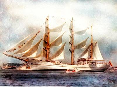 Digital Art - Sailing Into Boston Harbor by Anne Sands
