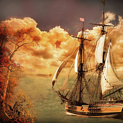 Digital Art - Sailing Into Fall by Jeff Burgess