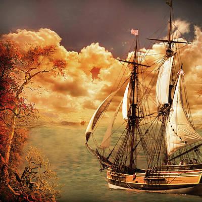 Digital Art - Sailing Into Fall by Jeff Burgess