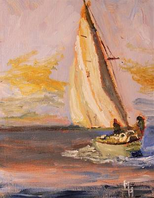 Painting - Sailing Into Sunset by Michael Helfen
