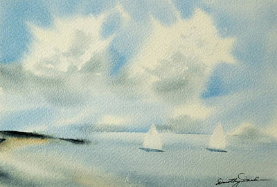 Sailing Into A Calm Anchorage Art Print