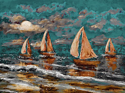 Ocean Sunset Mixed Media - Sailing Into The Blue Moon by Ken Figurski