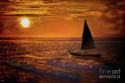 Painting - Sailing Into The Sun On The Outer Banks Ap by Dan Carmichael