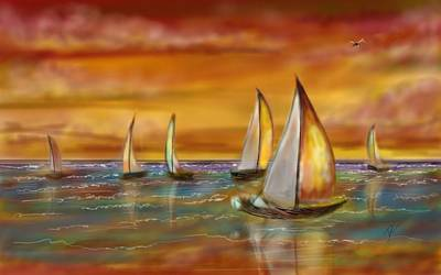 Digital Art - Sailing Into The Sunset by Darren Cannell