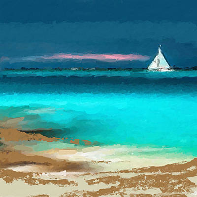 Beach Landscape Mixed Media - Sailing Just Offshore by Anthony Fishburne