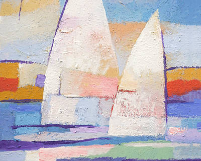 Abstract Seascape Painting - Sailing Mates by Lutz Baar