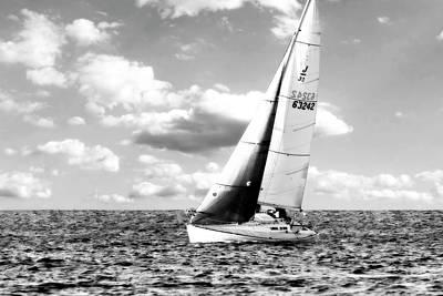 Ocean Photograph - Sailing My J by Alan Hausenflock