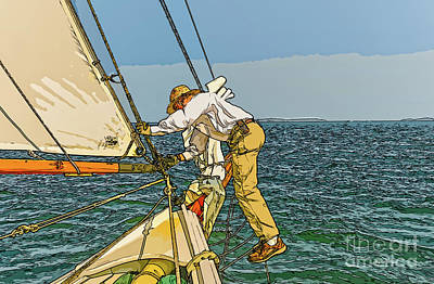 Digital Art - Sailing-not For Wimps-abstract Painting by Bill And Deb Hayes