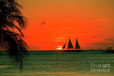 Mallory Square Key West Wall Art - Photograph - Sailing Off Into The Key West Sunset by John Stephens