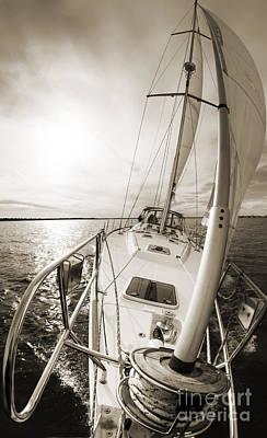 Yacht Photograph - Sailing On A Beneteau 49 Sailboat by Dustin K Ryan