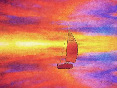 Keys Mixed Media - Sailing On Color Bay by Ken Figurski