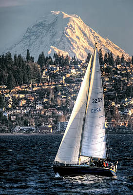Sailing On Elliot Bay, Seattle, Wa Art Print