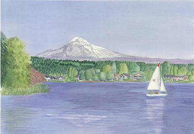 Oregon State Painting - Sailing On Fairview Lake by Laurie Martin-Cohn