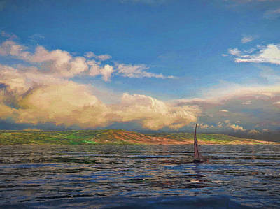 Sailing On Galilee Art Print by Dave Luebbert