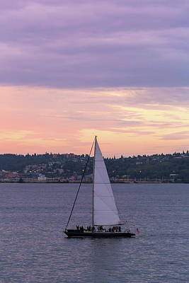 Wall Art - Photograph - Sailing On Puget Sound At Sunset by David Gn