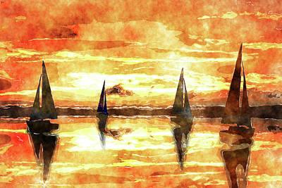 Sea Mixed Media - Sailing On Reflection Bay Watercolor  by Ken Figurski