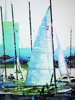 Hamburg Mixed Media - Sailing On The Alster by Nica Art Studio