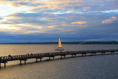 Wall Art - Photograph - Sailing On The Bellingham Bay During Sunset by David Gn