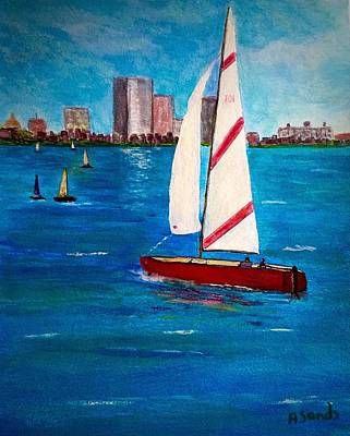 Painting - Sailing On The Charles by Anne Sands