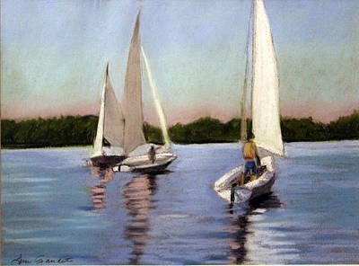 Pastel - Sailing On The Charles by Lenore Gaudet