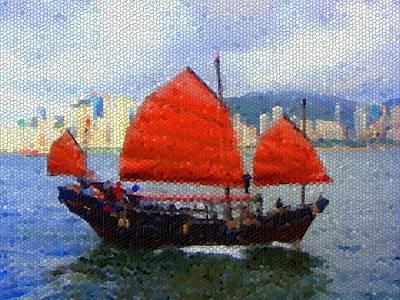 Hong Kong Mixed Media - Sailing On The East by Roberto Alamino