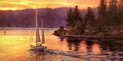 Sunset Painting - Sailing On The Sound by Steve Henderson