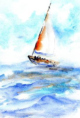 Painting - Sailing Out Sailboat Watercolor by Carlin Blahnik CarlinArtWatercolor