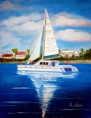 Painting - Sailing Paradise Island Bahamas by Phil Burton