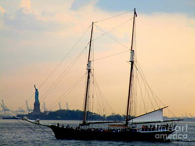 Ferry In New York Photograph - Sailing Past Miss Liberty by Randall Weidner