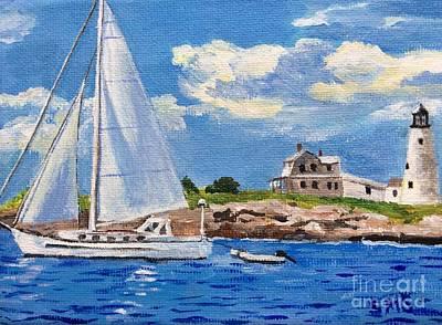 Painting - Sailing Past Wood Island Lighthouse by Stella Sherman