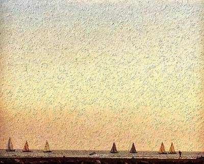 Sunset Digital Art - Sailboat Race by Jennifer Whitworth