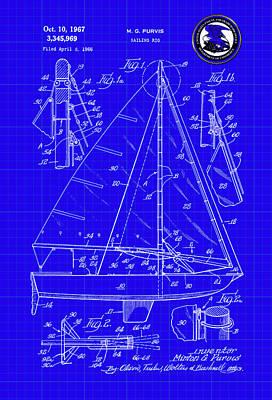Digital Art - Sailing Rig Patent Drawing by Carlos Diaz