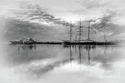 Digital Art - Sailing Ship At Cunningham Pier by Howard Ferrier