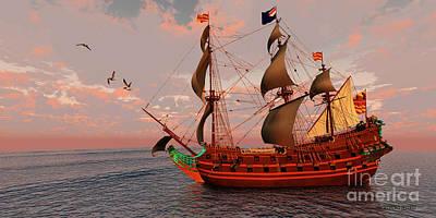 Boating Digital Art - Sailing Ship by Corey Ford
