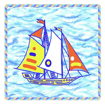 Wall Art - Painting - Sailing Ship - Kids' Rooms # 2 by Svetlana Titarenko