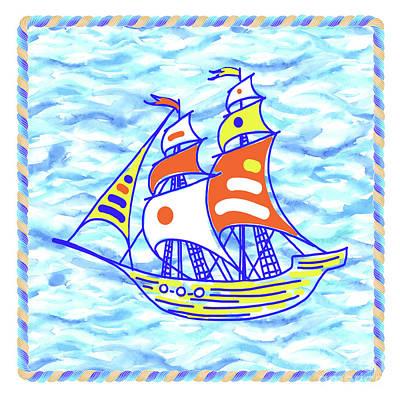 Wall Art - Painting - Sailing Ship - Kids' Rooms # 3 by Svetlana Titarenko