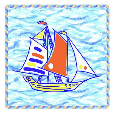 Wall Art - Painting - Sailing Ship - Kids' Rooms # 4 by Svetlana Titarenko