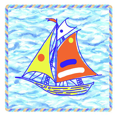 Wall Art - Painting - Sailing Ship - Kids' Rooms # 5 by Svetlana Titarenko